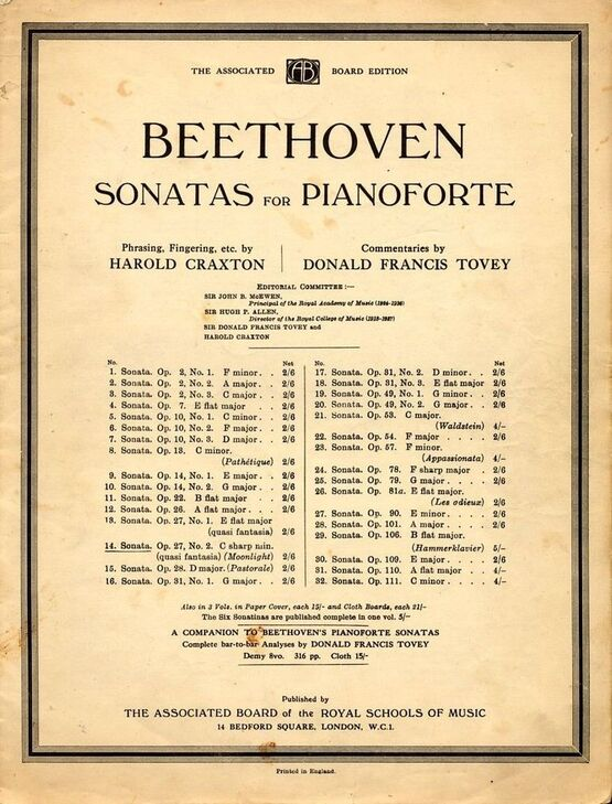 3770 | Sonata No. 14 - (Moonlight) - Op. 27 - No. 2 - In the key of C sharp minor