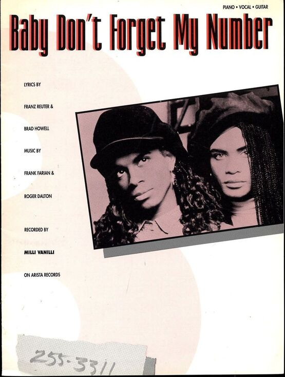 3782 | Baby Don't Forget My Number - Featuring Milli Vanilli - Piano - Vocal - Guitar