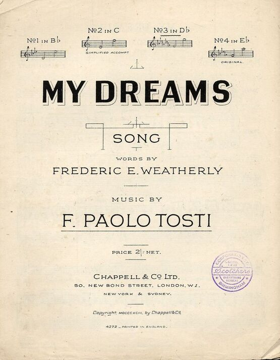 4 | My Dreams - Song - In the key of D flat major for medium voice