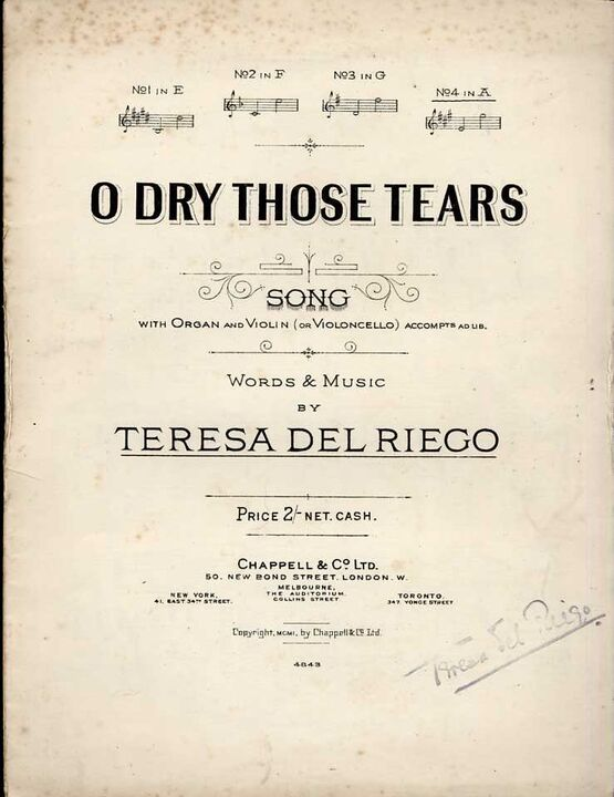 4 | O Dry those Tears - Song in the key of A major for High Voice with organ & violin (or violoncello) accompaniment adlib, sung by Alice Gomez,