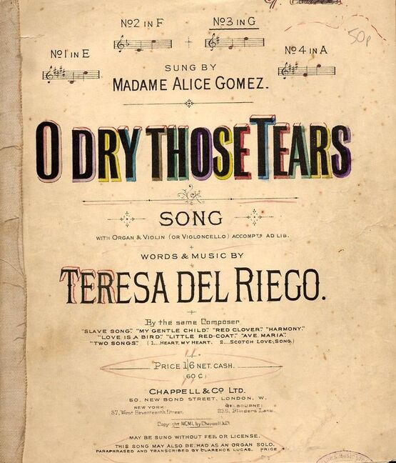 4 | O Dry Those Tears - Song in the key of A major for High Voice