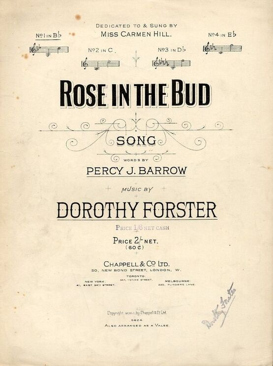 4 | Rose in the Bud - Song - In the key of B flat major for low voice