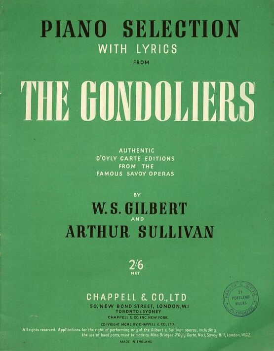 4 | The Gondoliers - Piano Selection with Lyrics - Authentic D'Otly Carte Editions from the Famous Savoy Opera