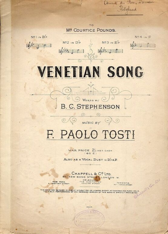 4 | Venetian Song - Song in the key of F for High Voice