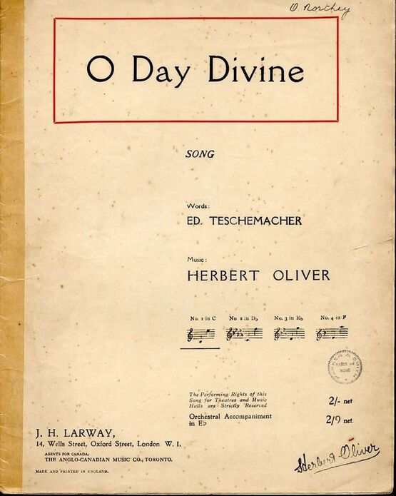 4469 | O Day Divine - Song - In the key of C major for low voice