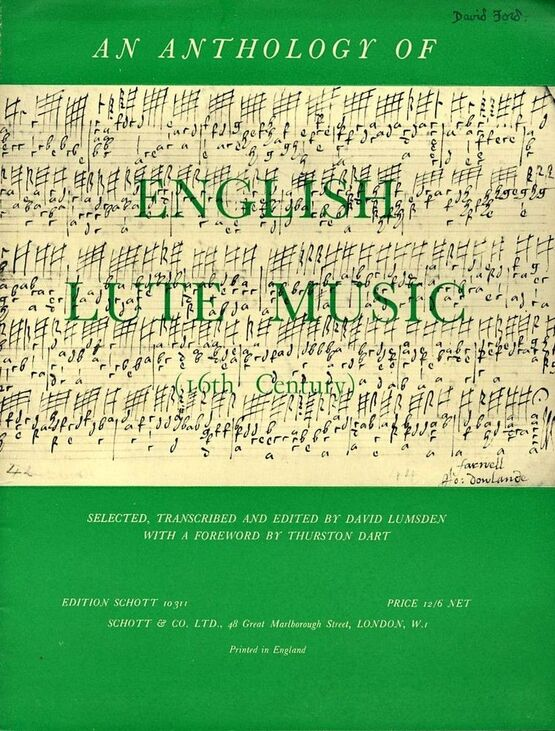 4615 | An Anothology of 16th Century English Lute Music - Edition Schott No. 10311 - Schotts Series of Early Lute Music No. 2