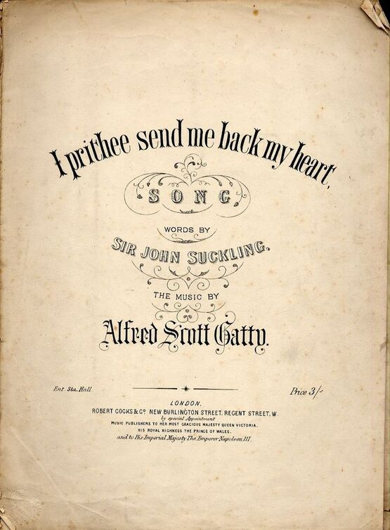 4642 | I prithee send me back my heart - Song in key of E flat for Voice and Piano