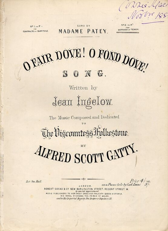 4642 | O Fair Dove O Fond Dove - Song in the key of A flat for Soprano or Tenor