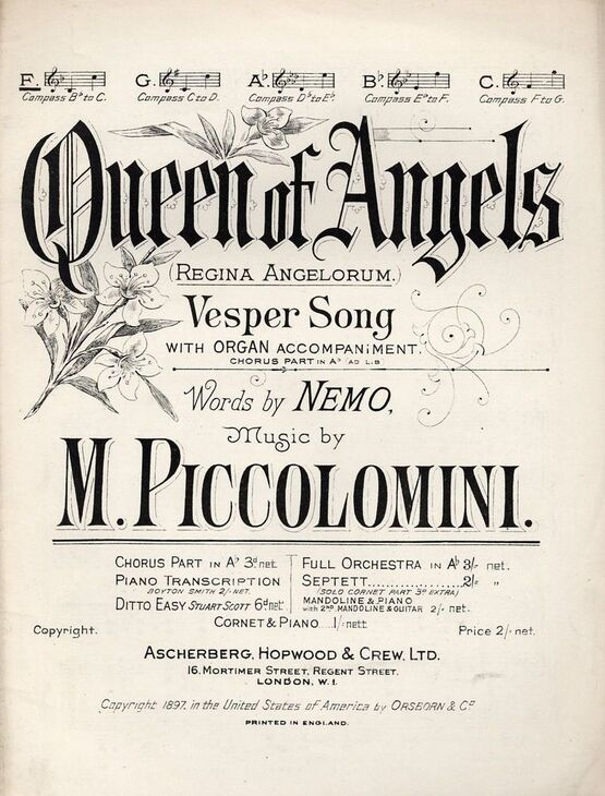 4654 | Queen of Angels  (Regina Angelorum) - Vesper Song in the key of F major for Low voice