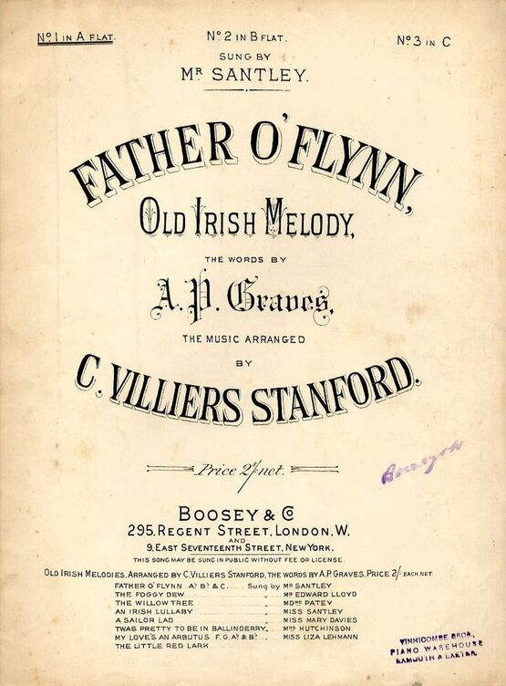 Father O Flynn - Old Irish Melody - In the key of A flat major for low  voice - Sung by Mrs Santley