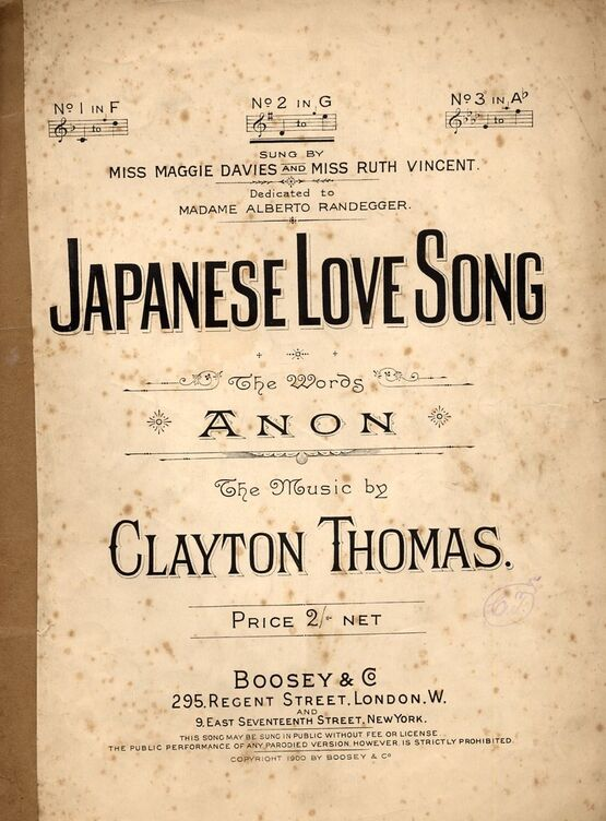 4656 | Japanese Love Song - Song in the key of G Major for Medium Voice