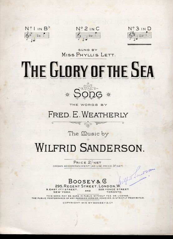 The Glory of the Sea - Song in the key of D major for high voice