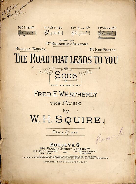 4656 | The Road That Leads To You - Song in the key of B flat major for Higher voice