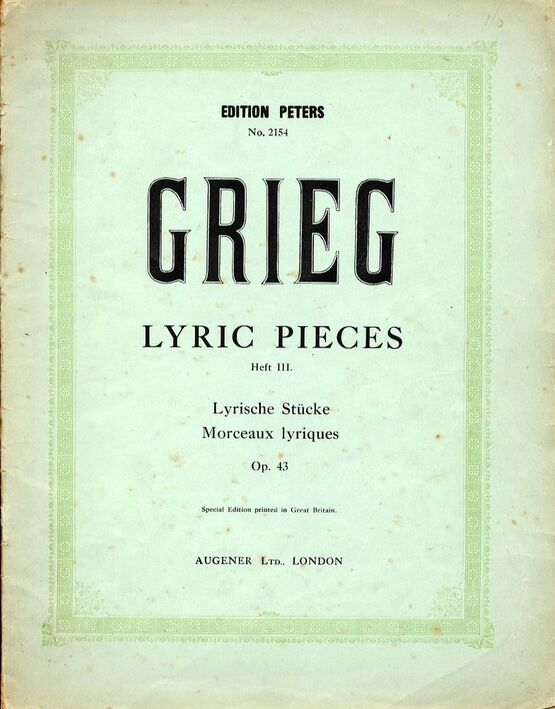 4696 | Lyric Pieces - Heft III -  Op.43 - Piano Solo - Edition Peters No. 2154