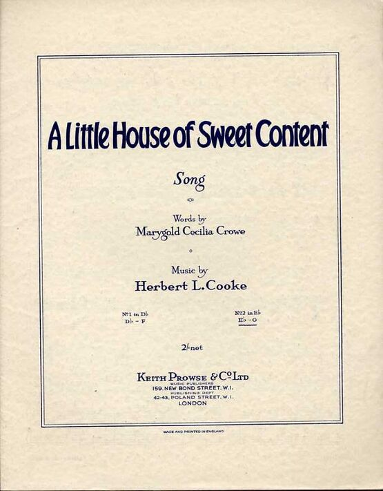 4843 | A Little House of Sweet Content - Song in the key of E flat major for high voice