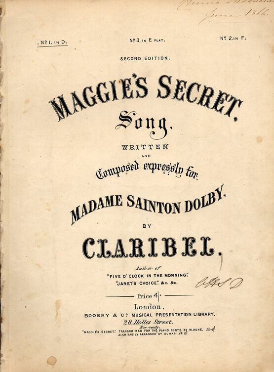 4921 | Maggie's Secret - Song in the key of D Major for Low Voice