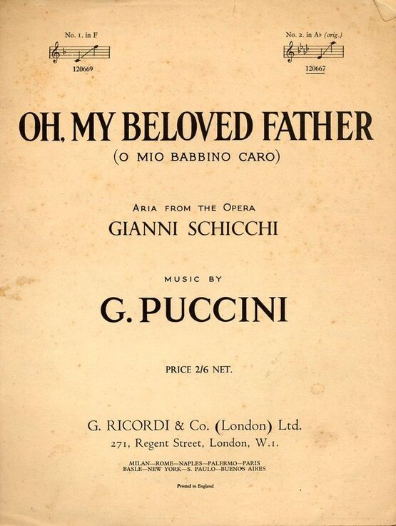 5038 | Oh My Beloved Father -  O mio babbino caro, aria from the opera Gianni Schicchi  - In the original key of A flat major for high voice