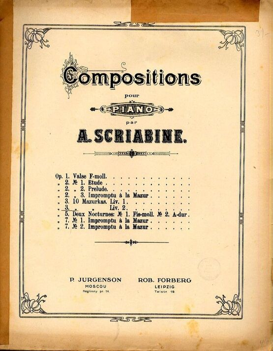 5161 | Compositions pour Piano - Opus 3 - 10 Mazurkas - Book II