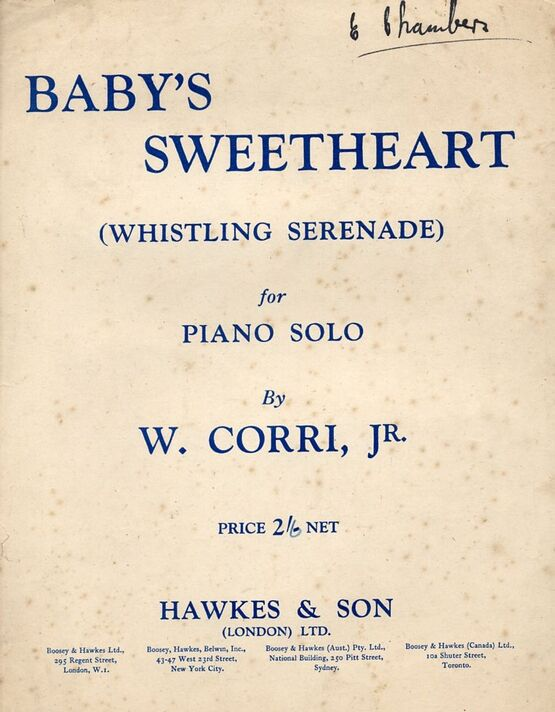 5197 | Baby's Sweetheart (Whistling Serenade) - Piano Solo