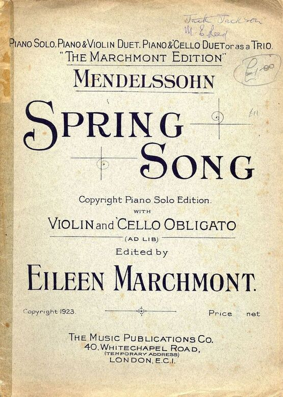 Spring Song - The Marchmont Edition - Piano Solo  Piano and Violin Duet,  Piano and Cello Duet or as a Trio