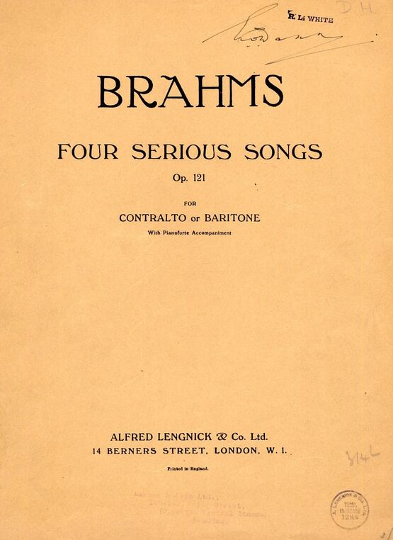 5377 | 4 Serious Songs for contralto or baritone with pianoforte accompaniment - Op.121
