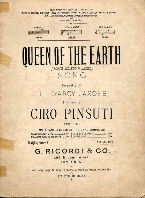 5409 | Queen of the Earth - Song - In the key of B flat major for medium voice
