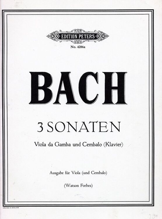 5428 | 3 Sonaten - For Violin and Piano - Edition Peters No. 4286a