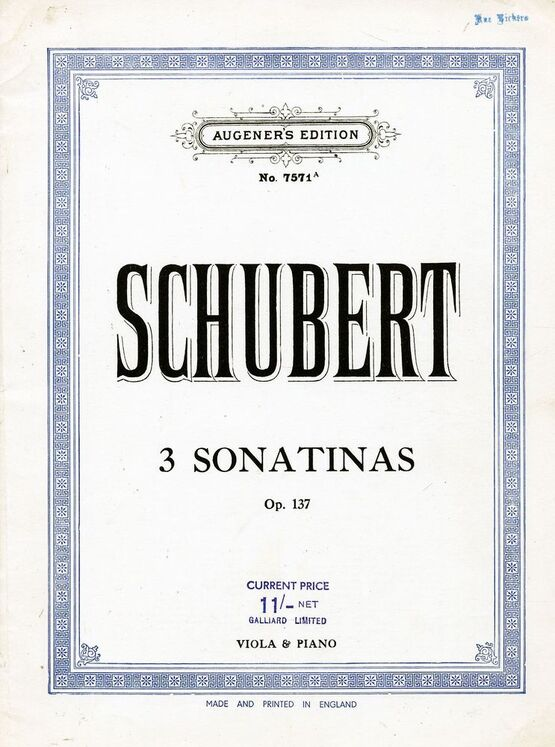 5614 | 3 Sonatinas -  Op. 137 - For Viola and Piano - Augeners Edition No. 7571a