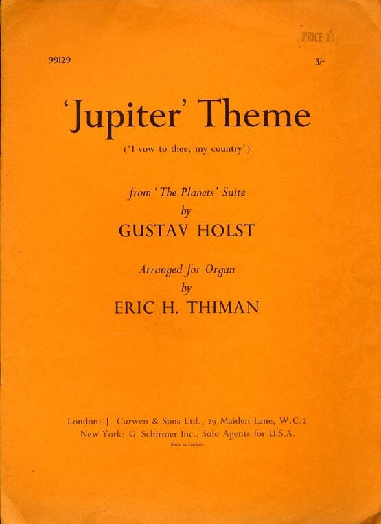575 | 'Jupiter Theme' (I Vow to Thee My Country) - For Organ