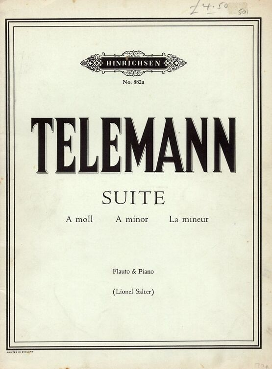 5908 | G P Telemann - Suite in A minor for flute and piano