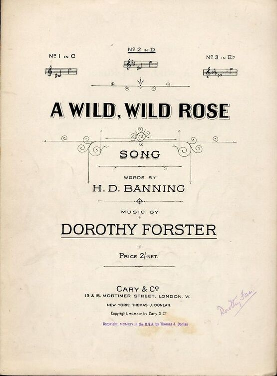 5957 | A Wild Wild Rose - Song - In the key of D major for medium voice