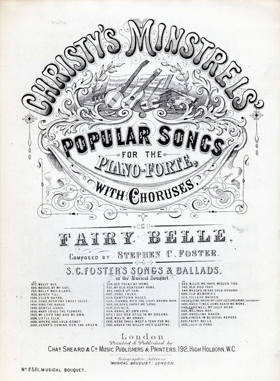 6239 | Fairy Belle. Christy's Minstrels Popular Songs for the pianoforte