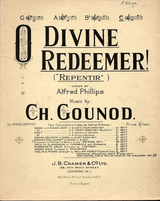 6255 | O Divine Redeemer (Repentir) - In the key of  C major for High Voice