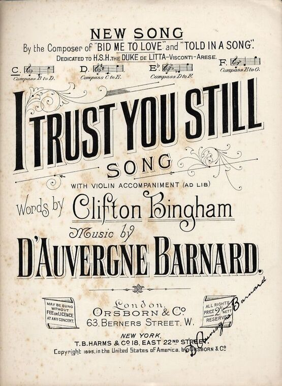 6267 | I Trust You Still  -  Song With Violin Accompaniment - In the key of C major for Low Voice