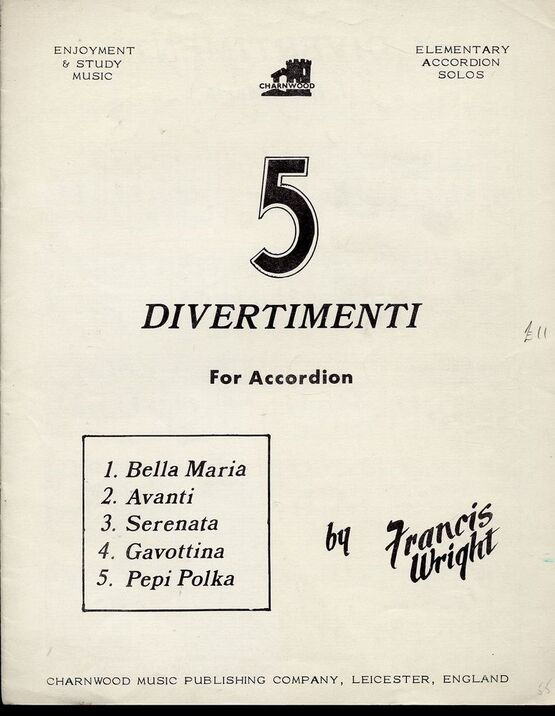 6620 | 5 Divertimenti for Accordion - Elementary Accordion Solos - Enjoyment and Study Music