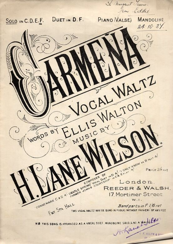6651 | Carmena - Vocal Waltz  - For High Voice (In F)