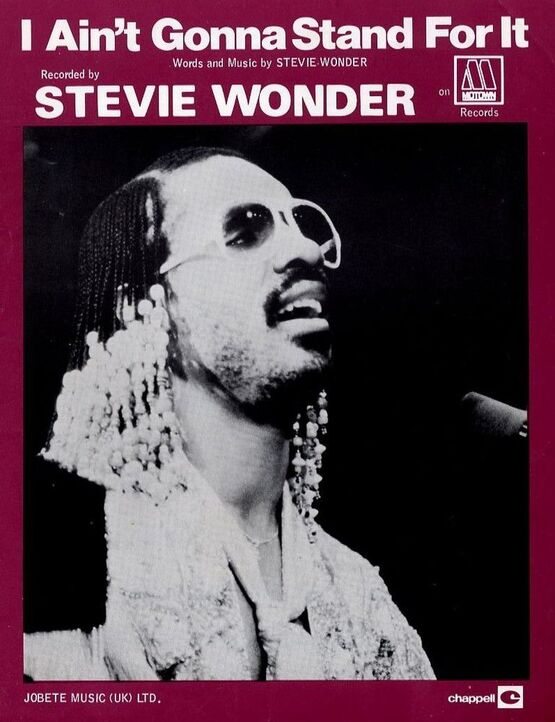 6694 | I Ain't gonna stand for it - Recorded by Stevie Wonder on Mowtown Records - For Piano and Voice with chord symbols