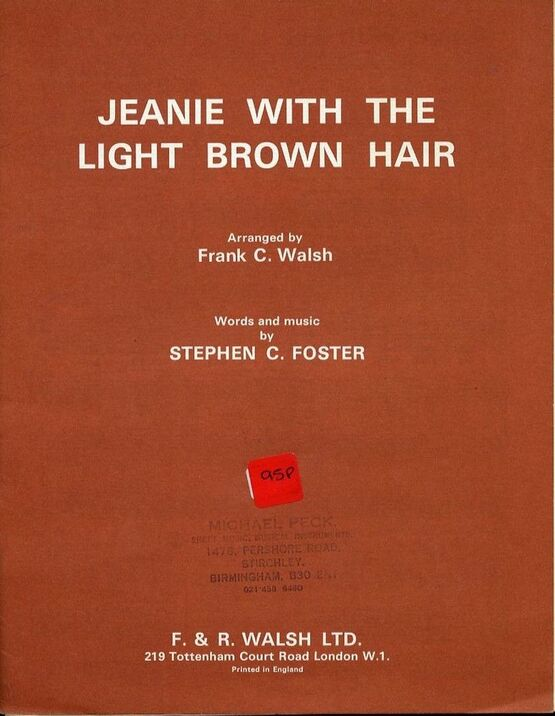6708 | Jeanie with the Light Brown Hair - Song - In the key of F major