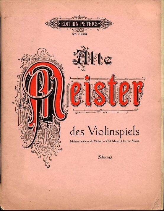 6868 | Alte Meister des Violinspiels - Old Masters for the Violin - Edition Peters No. 3226 - For Violin and Piano