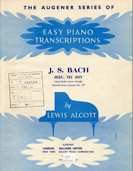 7515 | J. S. Bach - Jesu My Joy - The Augener Series of Easy Piano Transcriptions