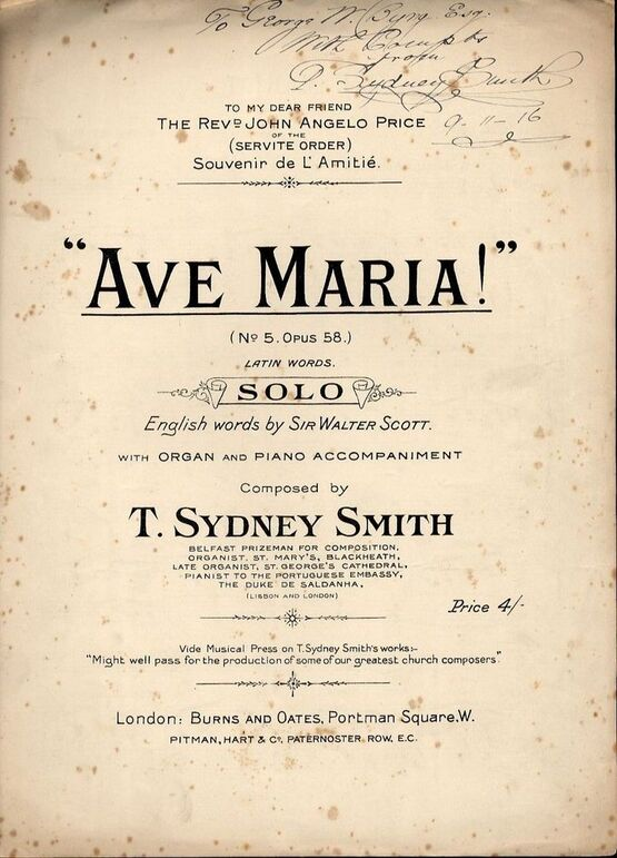 7724 | Ave Maria - Op. 58, No. 5 - Latin Words