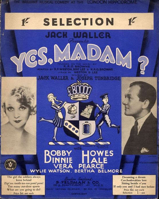 7791 | Yes, madam? - Piano Selection from the Musical Comedy at the London Hippodrome with Bobby Binnoe and Howes Hale - For Piano Solo