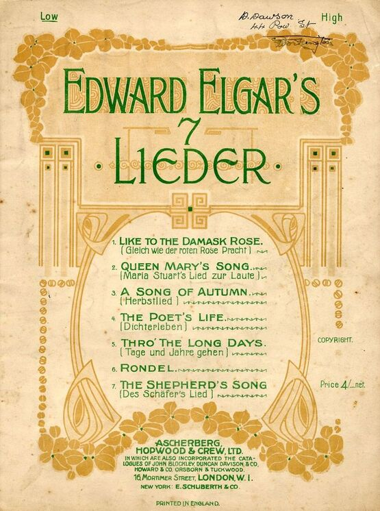 7809 | Edward Elgar's 7 Lieder - 7 Songs Edward Elgar - For low Voice