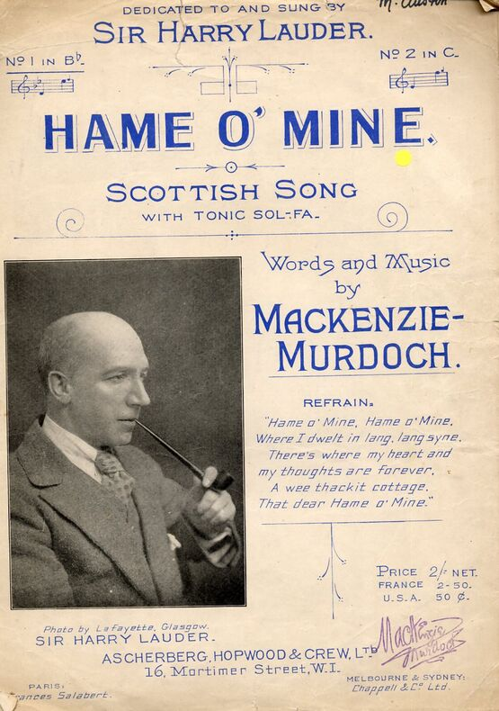 7809 | Hame O' Mine - Scottish Song in the key of B flat Major for Low Voice - Sung by Sir Harry Lauder