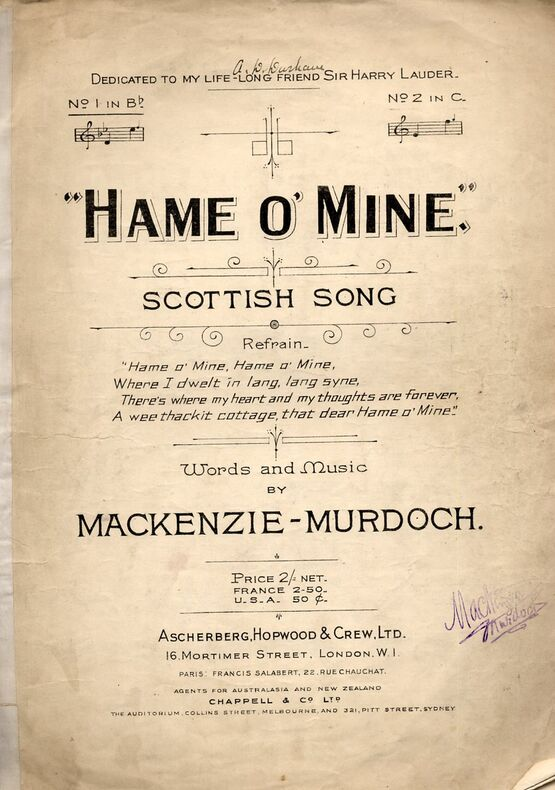 7809 | Hame O' Mine - Scottish Song in the key of B flat Major for Low Voice