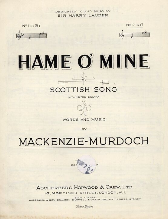7809 | Hame O' Mine - Scottish Song in the key of C Major for High Voice