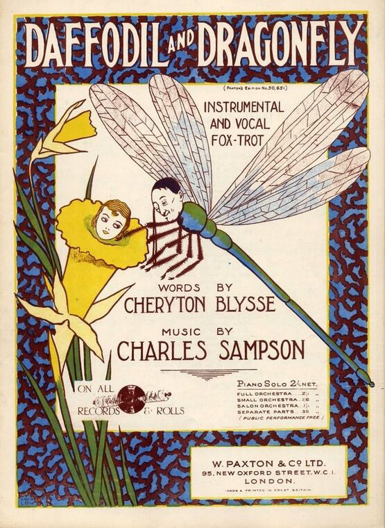 7814 | Daffodil and Dragonfly - Instrumental and Vocal Fox-trot - For Voice and Piano - Paxton's edition No. 50651