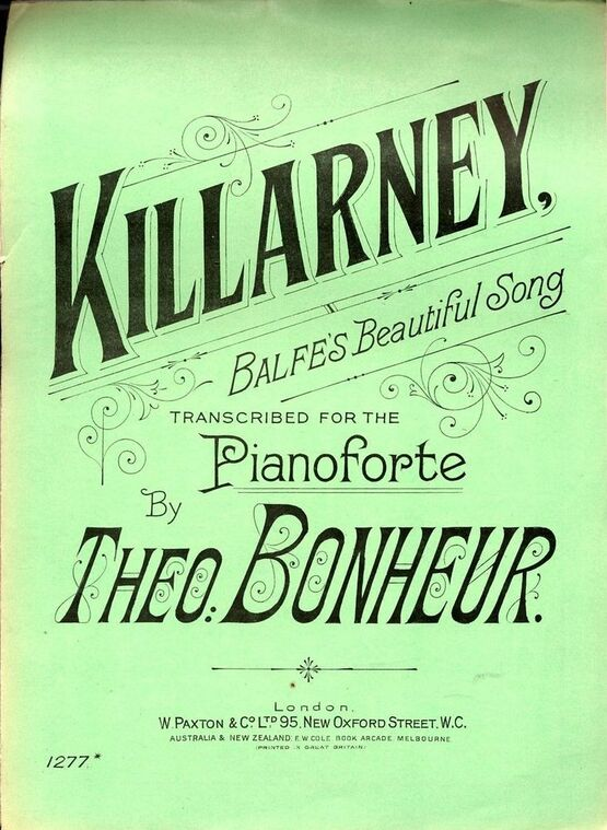 7814 | Killarney - Balfe's Beautiful Song - Transcribed for the Pianoforte - Paxton edition No. 1277