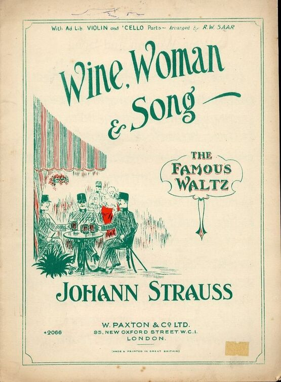 Wine, Woman & Song - The famous Waltz - Piano solo with Violin and Cello ad  Lib