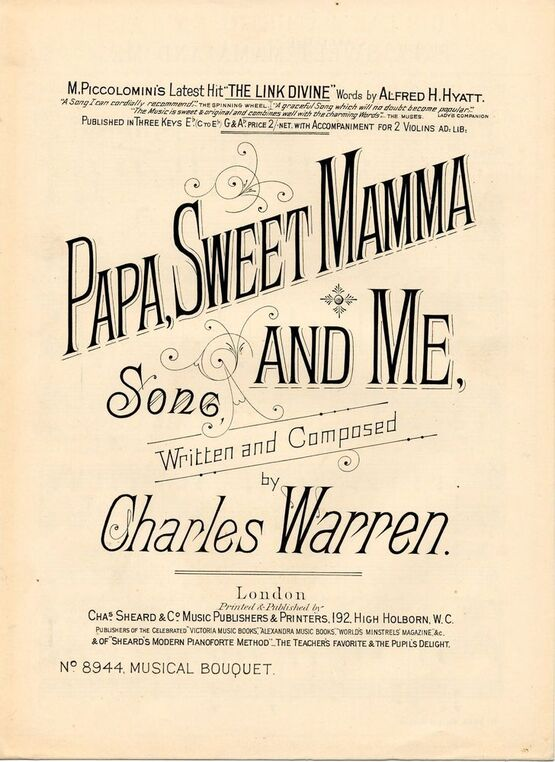 7843 | Papa, Sweet mamma and Me - Song - Musical Bouquet No. 8944